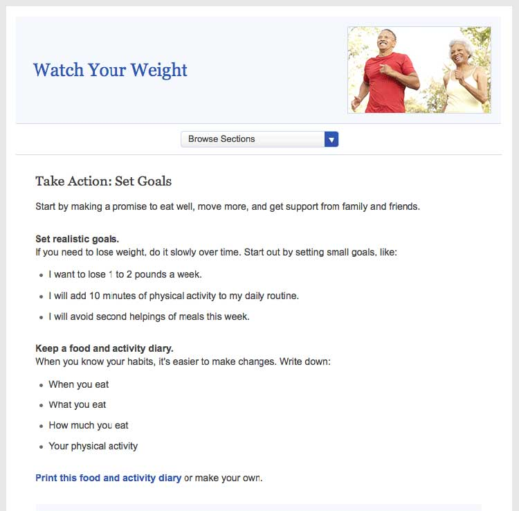 Screen shot of healthfinder.gov 'Watch Your Weight' topic