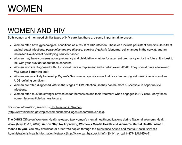 Printer friendly page of the aids.gov website