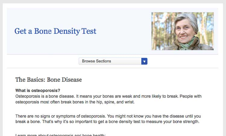 Screen shot of the healthfinder.gov 'Get a Bone Density Test' topic