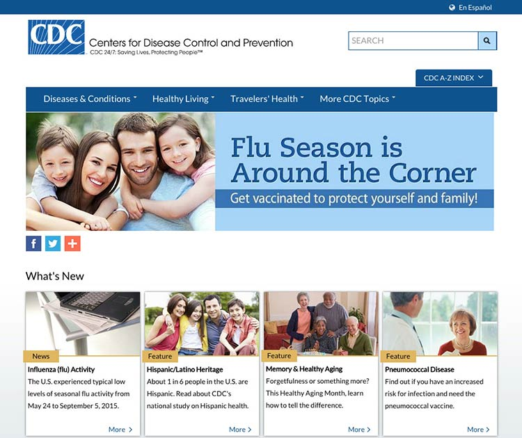 Screenshot of the cdc.gov homepage