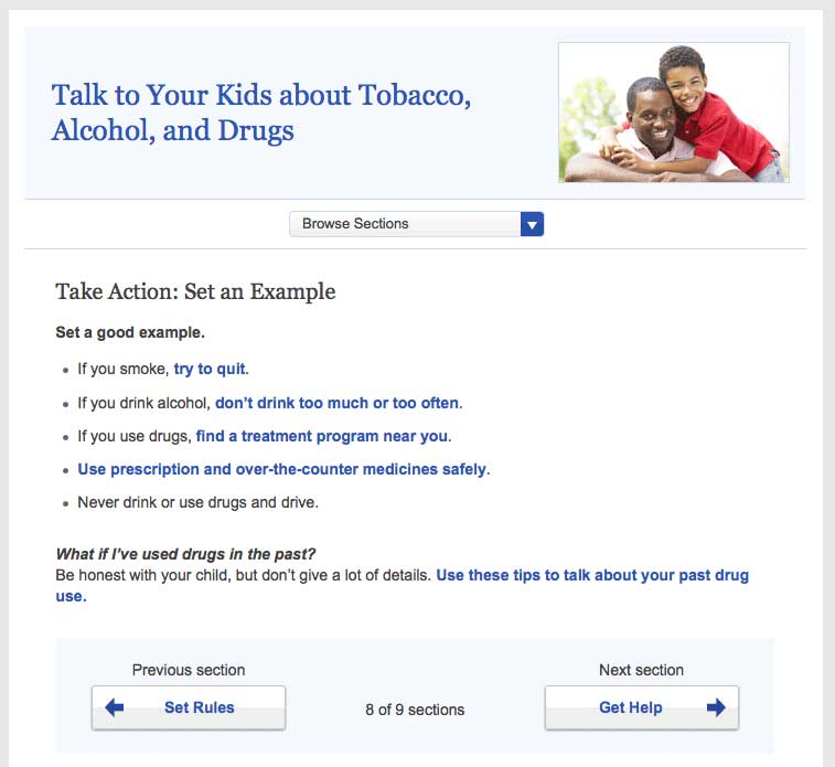 Screenshot of healthfinder.gov 'Talk to your kids about tobacco, alcohol, and drugs' topic