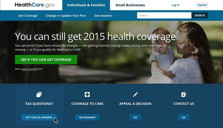 Screenshot of healthcare.gov homepage with mouse hovered over the 'Tax Questions' icon to show clickable area
