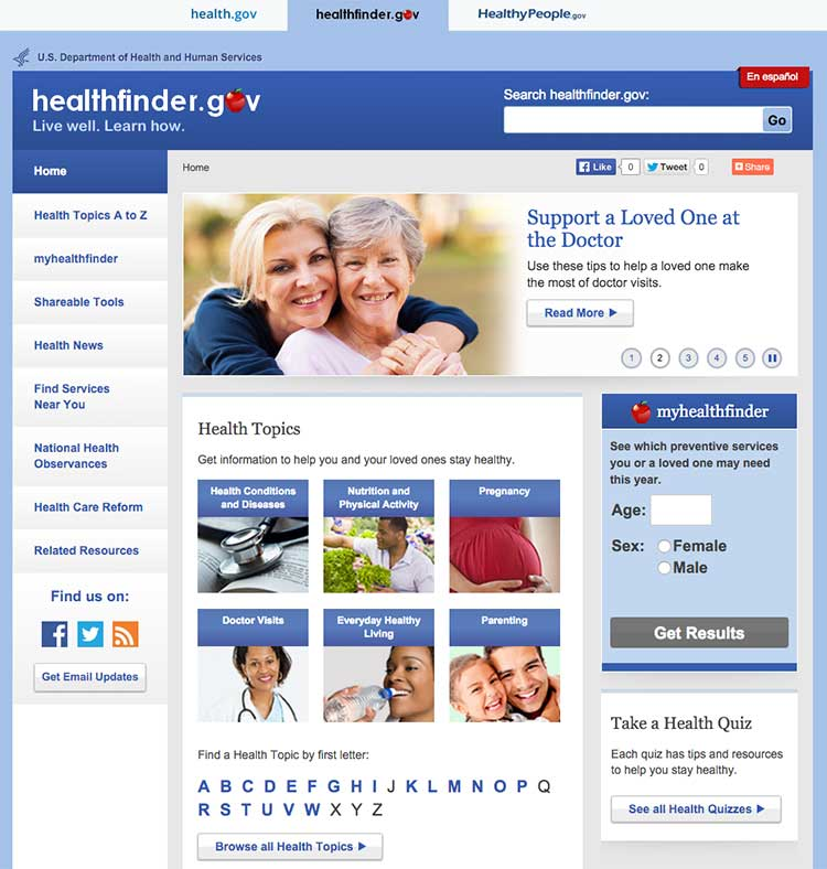 Screenshot of healthfinder.gov homepage