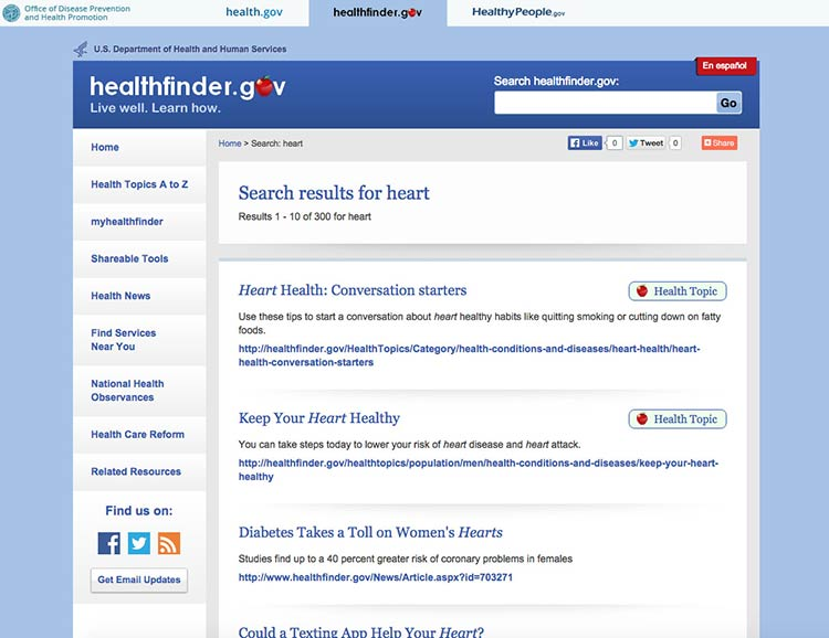 Screenshot of healthfinder.gov search results for the keyword 'heart'