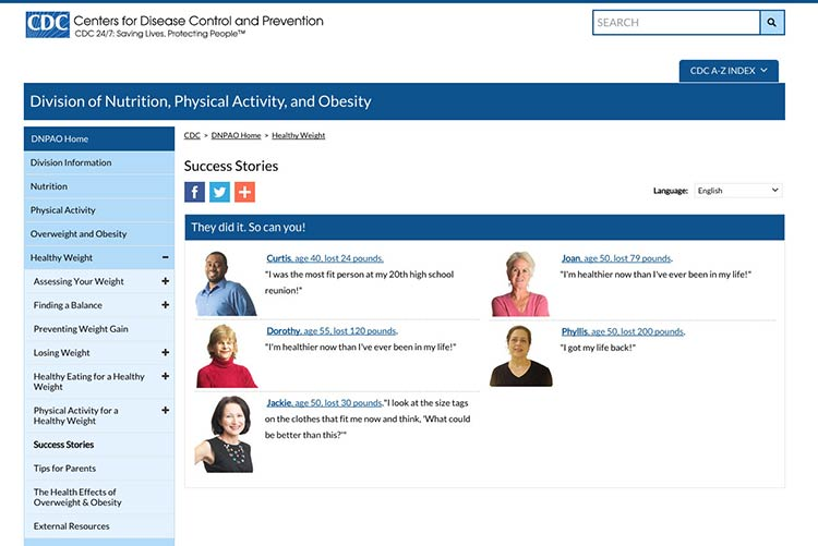 Screenshot of cdc.gov Healthy Weight Sucess Stories page
