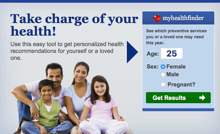 Screenshot of myhealthfinder tool