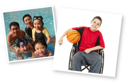 Family swimming in a pool, boy in a wheelchair holding a basketball