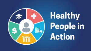 Healthy people in action graphic