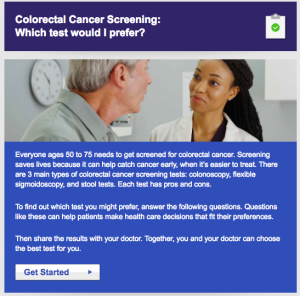 Screenshot of Colorectal Cancer Screening: Which test would I prefer quiz