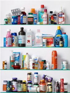 Image of a full medicine cabinet.