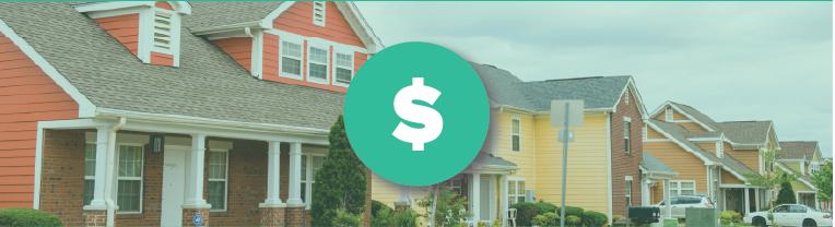 A dollar sign icon overlays three houses on a neighborhood street.