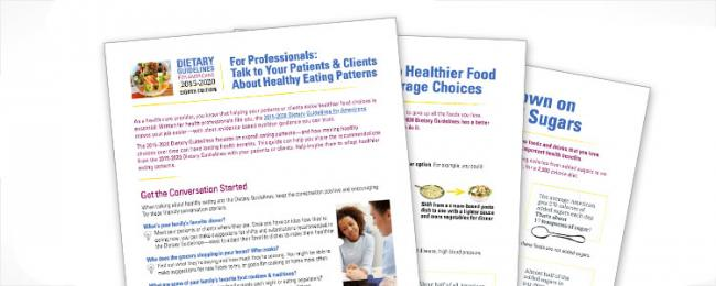 Snippets of dietary guidelines for professionals documents